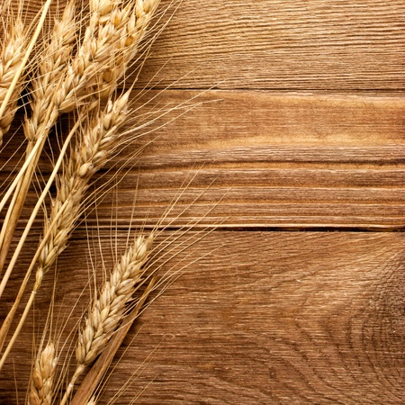 wheat on the wood background Stock Photo - 10867084