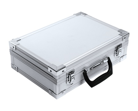 Aluminum suitcase isolated on a white background photo