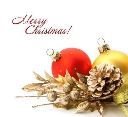 Bright christmas composition with balls and sample text photo