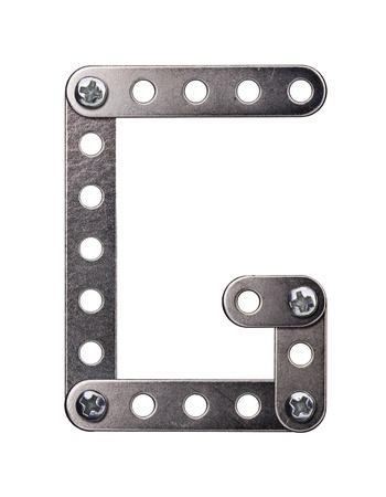 monotype: Metal meccano alphabet symbol
