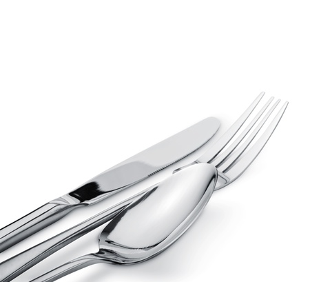 Fork spoon and knife isolated on white background