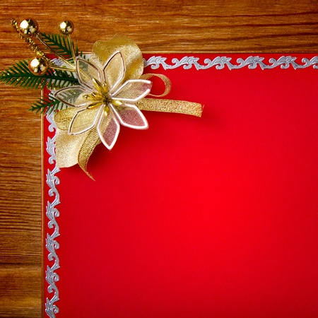 Greeting red card with gold decor  photo
