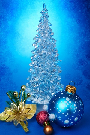 Christmas tree on a blue background  photo