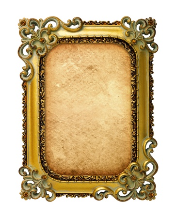old antique gold frame with old paper over white background photo