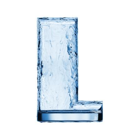 carta de agua liquida: Una letra del alfabeto. Salpicaduras de agua en un vaso Foto de archivo