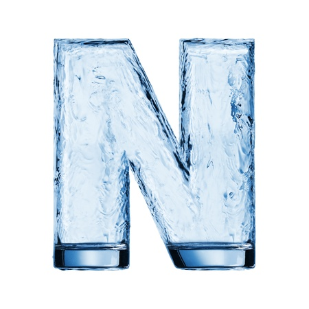 One letter of the alphabet. Water waves in a glass photo