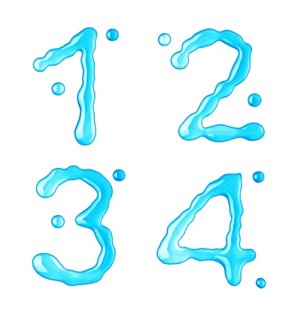 Water drops font on white background photo