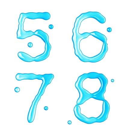 Water drops font on white background