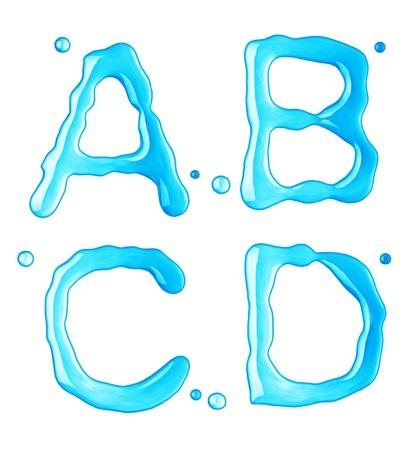 letter liquid water: Las gotas de agua de la fuente en el fondo blanco Foto de archivo