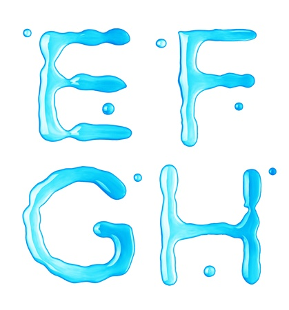 ice font: Water drops font on white background