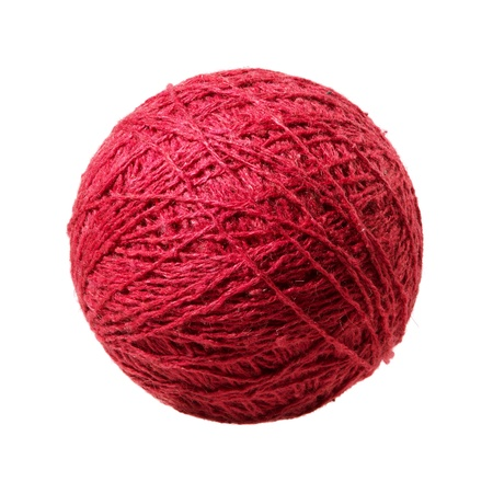 cotton ball: Red ball of yarn Stock Photo