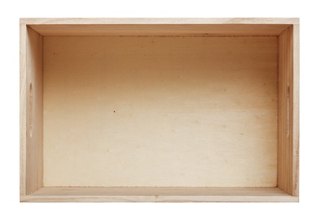 Empty wood box with white background  Stock Photo