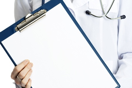 medical notes: medical doctor with clipboard, isolated on white background Stock Photo