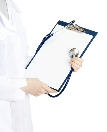 prescriptions: medical doctor with clipboard, isolated on white background Stock Photo