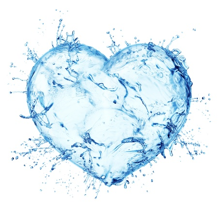 Heart from water splash isolated on white photo