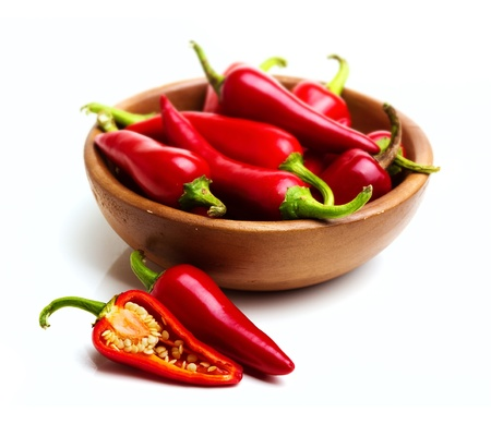 red chili peppers in a bowl Stock Photo - 12464573