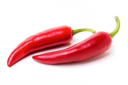 green chilli: Red chili peppers isolated on the white