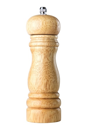pepper grinder: A wooden peppermill on white background