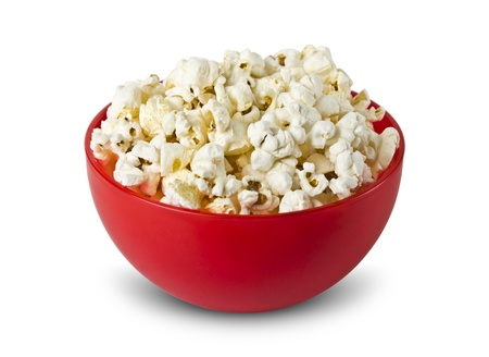bowl of popcorn: Bowl of popcorn isolated on white background