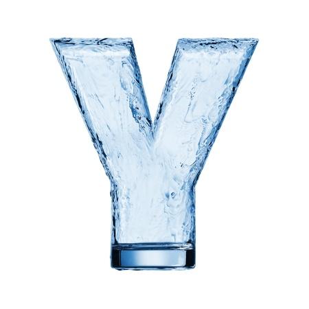 물결: 알파벳 문자를 하나. 유리에 물 파도