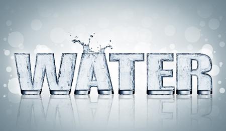 carta de agua liquida: Agua. La letra del agua en el vidrio.