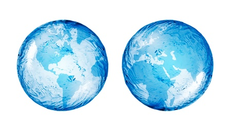 globus: abstract globe from water isolated on white