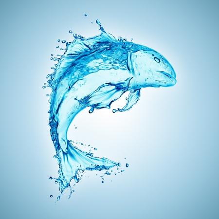 blue fish: water fish splash isolated on white background  Stock Photo