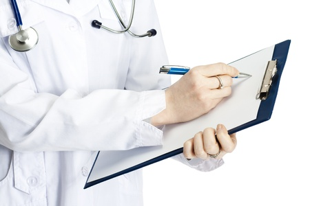 doctor clipboard: medical doctor with clipboard, isolated on white background Stock Photo