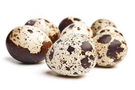 CODORNIZ: Grupo de los huevos de codorniz en el fondo blanco