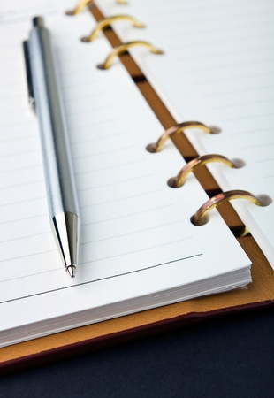 ballpoints: Open notebook with copper binding and stylish pen
