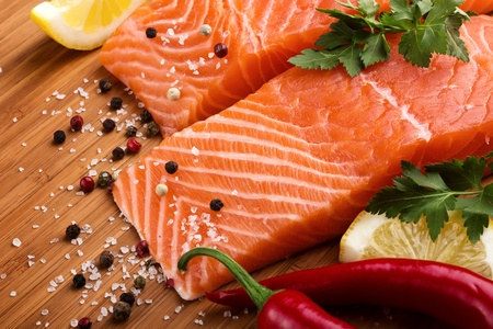 Salmon with lemon and pepper photo