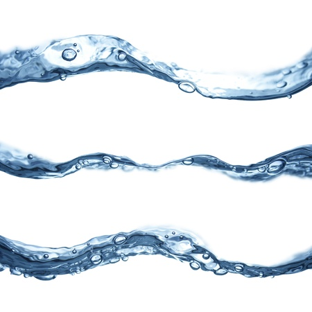 Blue water waves flowing isolated on white background  photo