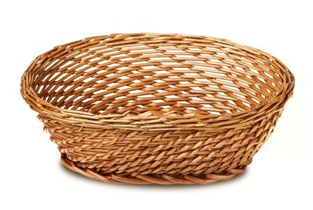 interleaved: wicker basket isolated on white background