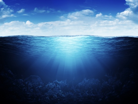 sun from underwater: Sky, waterline and underwater background Stock Photo