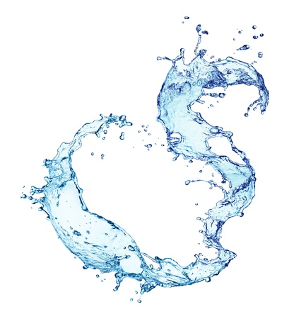 blue water splash isolated on white background photo