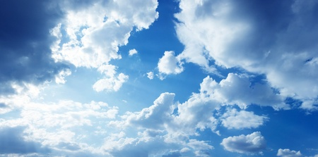 wide open spaces: beautiful blue-sky with clouds Stock Photo