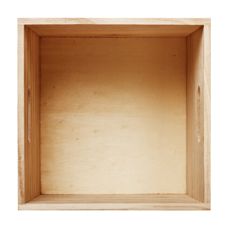 wooden box: Empty wood box with white background  Stock Photo