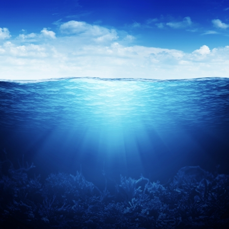 Sky, waterline and underwater background photo
