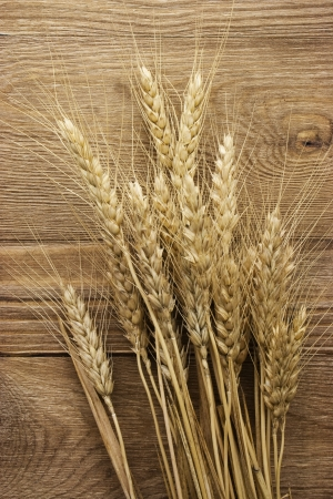 wheat on the wood background photo