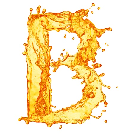 bubble alphabet: Orange liquid splash alphabet Stock Photo