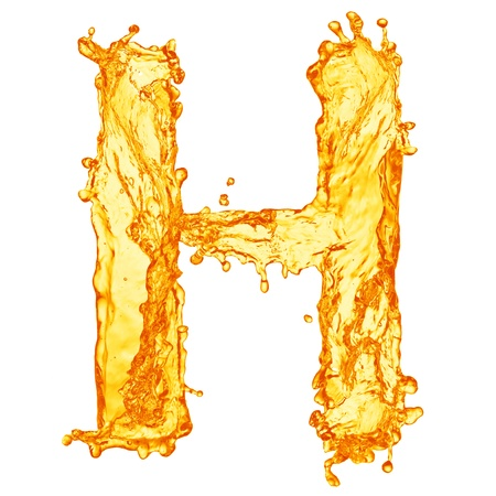 splash sinas: Oranje vloeistofspatten alfabet Stockfoto