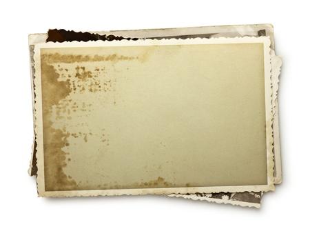 Pile de vieilles photos avec chemin de détourage intérieur et l'extérieur