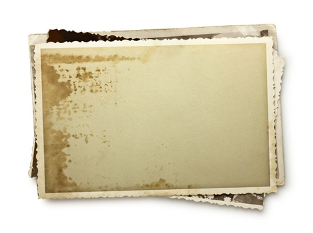 antique frame: Stack of old photos with clipping path inside and outside