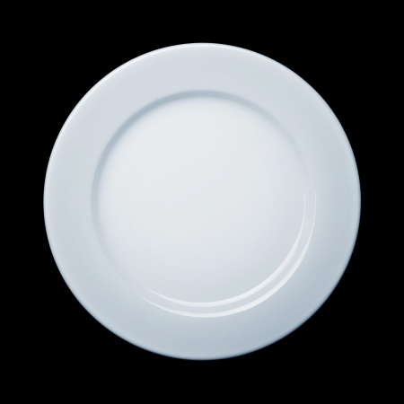 clean dishes: Plate on black background Stock Photo