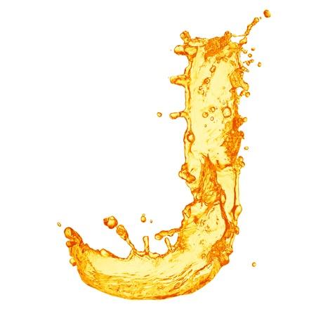 letter liquid water: Alfabeto Orange salpicaduras de líquidos