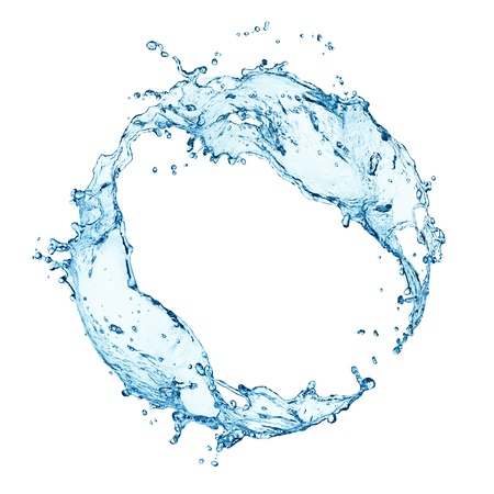blue water splash isolated on white background 版權商用圖片