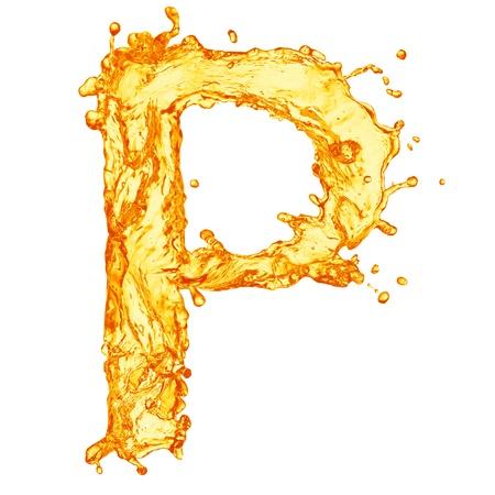 alphabet beer: Orange liquid splash alphabet Stock Photo