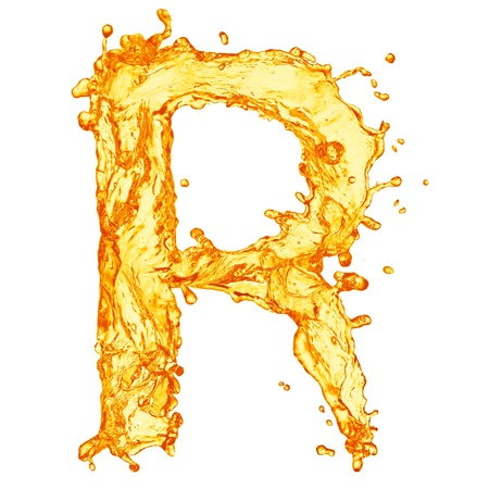 splash sinas: Oranje vloeistof splash alfabet