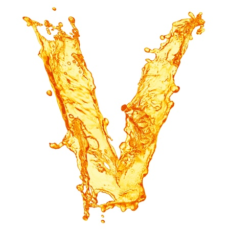 liquid gold: Orange liquid splash alphabet Stock Photo