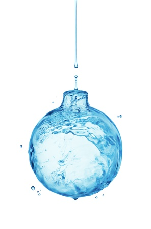 falling water: Christmas ball from water splash isolated on white